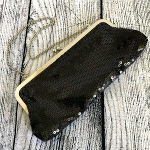 LOFT, Ann Taylor, sequin, clutch / hand bag, black